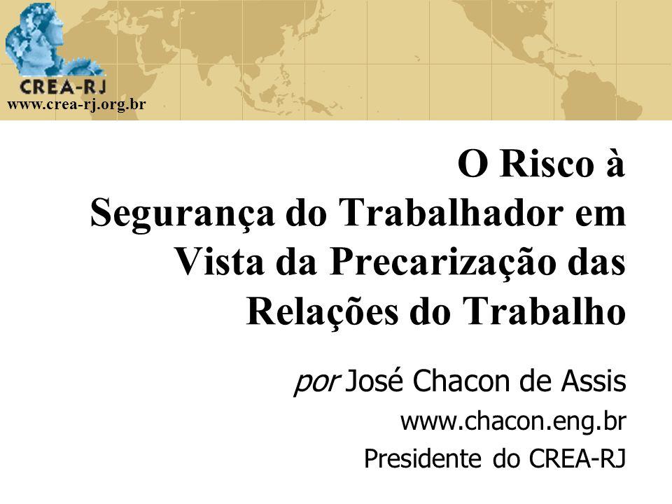 www.crea-rj.org.br O Risco à Segurança do Trabalhador em Vista da Precarização das Relações do Trabalho por José Chacon de Assis www.chacon.eng.br Pre