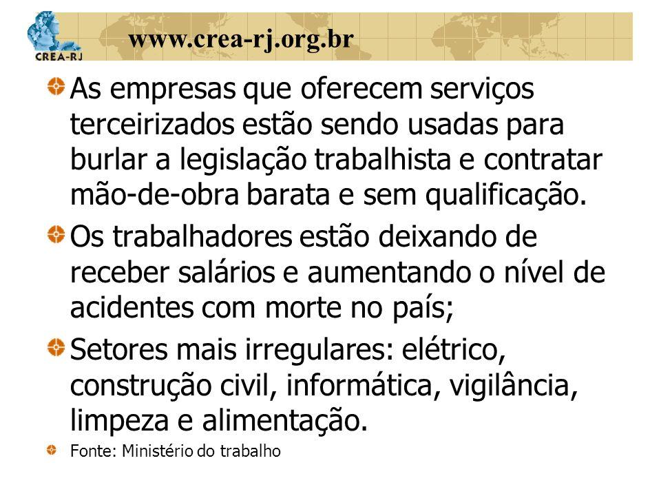 www.crea-rj.org.br As empresas que oferecem serviços terceirizados estão sendo usadas para burlar a legislação trabalhista e contratar mão-de-obra bar