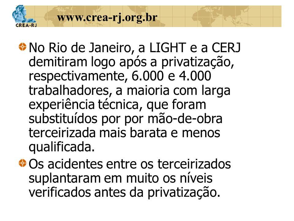 www.crea-rj.org.br No Rio de Janeiro, a LIGHT e a CERJ demitiram logo após a privatização, respectivamente, 6.000 e 4.000 trabalhadores, a maioria com