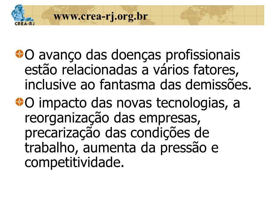 www.crea-rj.org.br O avanço das doenças profissionais estão relacionadas a vários fatores, inclusive ao fantasma das demissões. O impacto das novas te