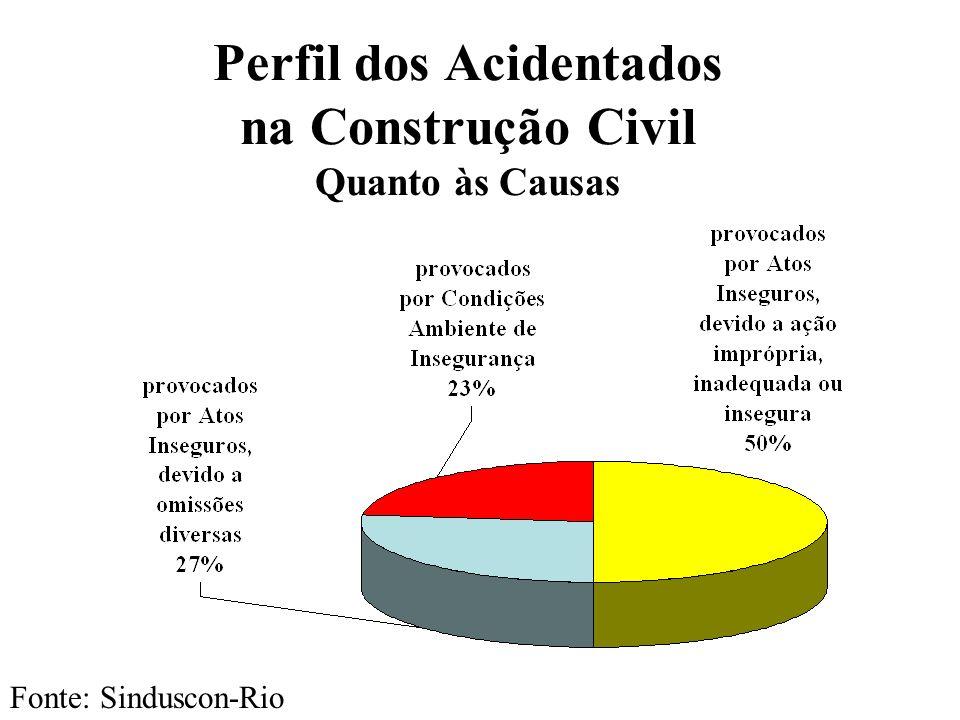 Perfil dos Acidentados na Construção Civil Quanto às Causas Fonte: Sinduscon-Rio