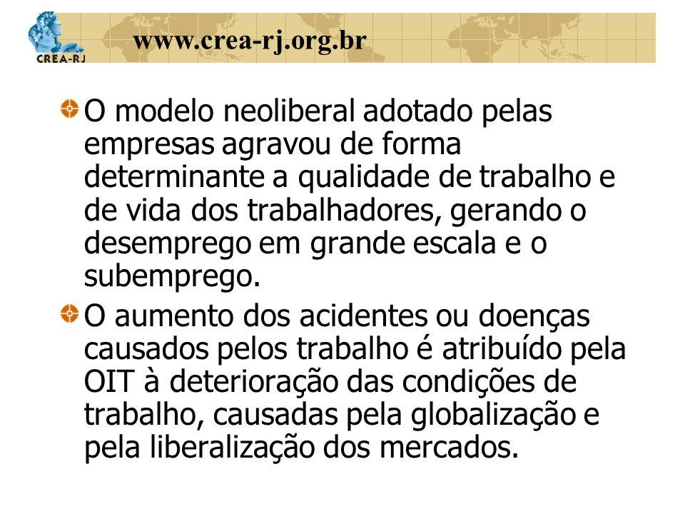 www.crea-rj.org.br O modelo neoliberal adotado pelas empresas agravou de forma determinante a qualidade de trabalho e de vida dos trabalhadores, geran