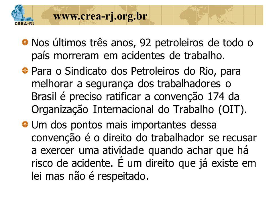 www.crea-rj.org.br Nos últimos três anos, 92 petroleiros de todo o país morreram em acidentes de trabalho. Para o Sindicato dos Petroleiros do Rio, pa