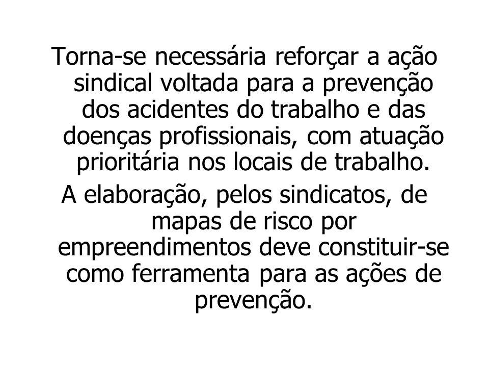 Torna-se necessária reforçar a ação sindical voltada para a prevenção dos acidentes do trabalho e das doenças profissionais, com atuação prioritária n