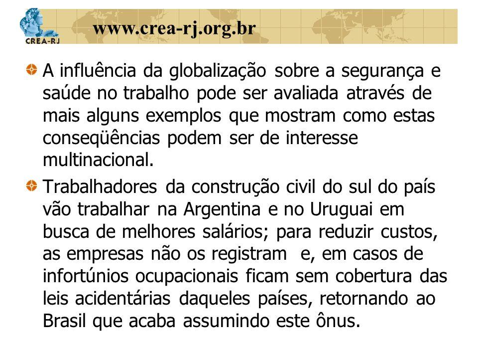 www.crea-rj.org.br A influência da globalização sobre a segurança e saúde no trabalho pode ser avaliada através de mais alguns exemplos que mostram co