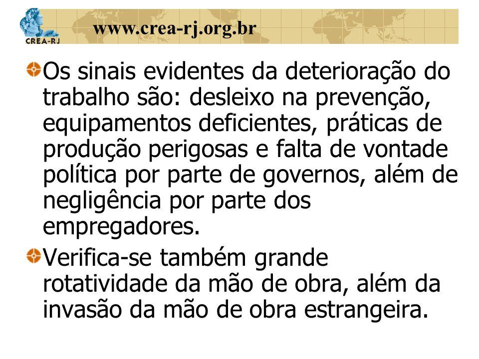 www.crea-rj.org.br Os sinais evidentes da deterioração do trabalho são: desleixo na prevenção, equipamentos deficientes, práticas de produção perigosa