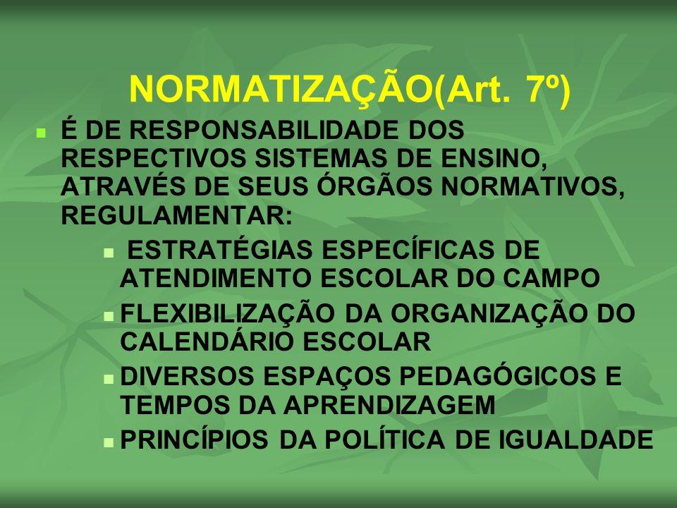 NORMATIZAÇÃO(Art. 7º) É DE RESPONSABILIDADE DOS RESPECTIVOS SISTEMAS DE ENSINO, ATRAVÉS DE SEUS ÓRGÃOS NORMATIVOS, REGULAMENTAR: ESTRATÉGIAS ESPECÍFIC
