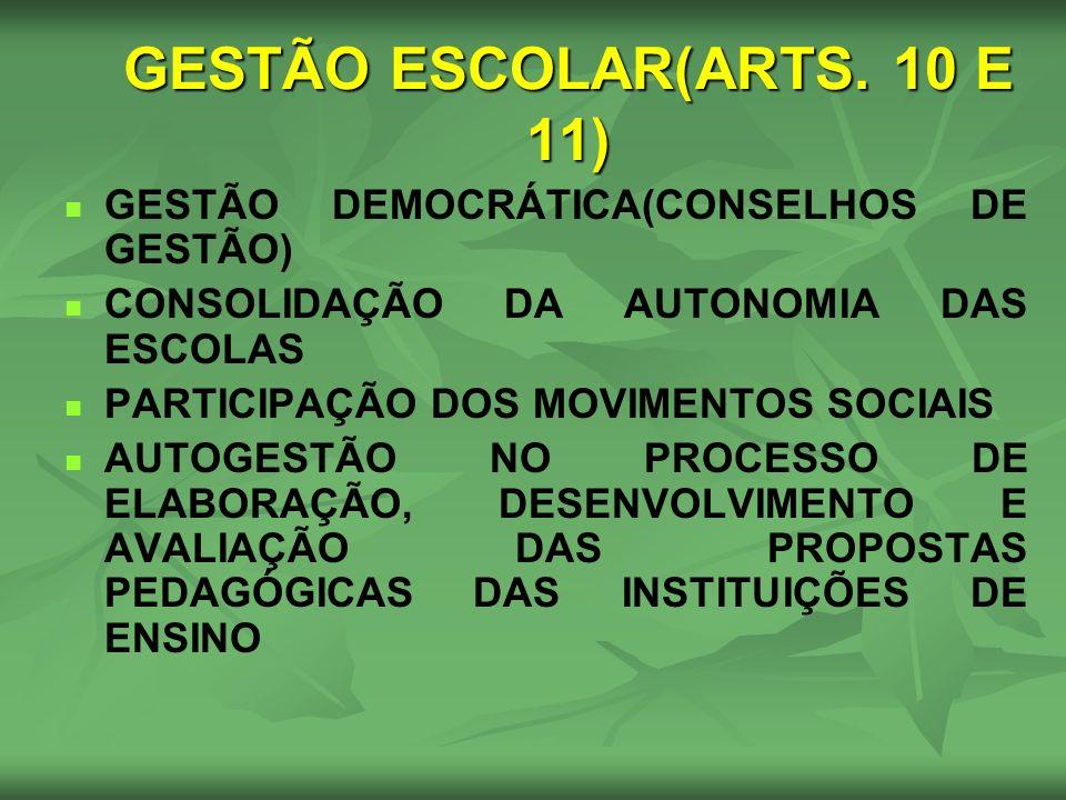 GESTÃO ESCOLAR(ARTS. 10 E 11) GESTÃO DEMOCRÁTICA(CONSELHOS DE GESTÃO) CONSOLIDAÇÃO DA AUTONOMIA DAS ESCOLAS PARTICIPAÇÃO DOS MOVIMENTOS SOCIAIS AUTOGE