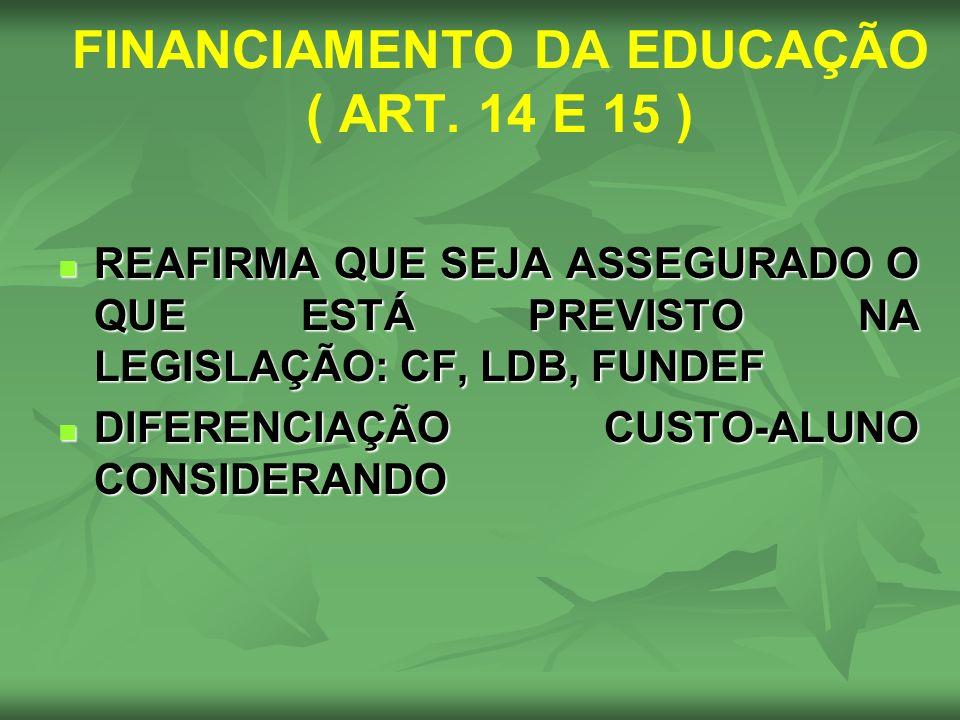 FINANCIAMENTO DA EDUCAÇÃO ( ART. 14 E 15 ) REAFIRMA QUE SEJA ASSEGURADO O QUE ESTÁ PREVISTO NA LEGISLAÇÃO: CF, LDB, FUNDEF REAFIRMA QUE SEJA ASSEGURAD