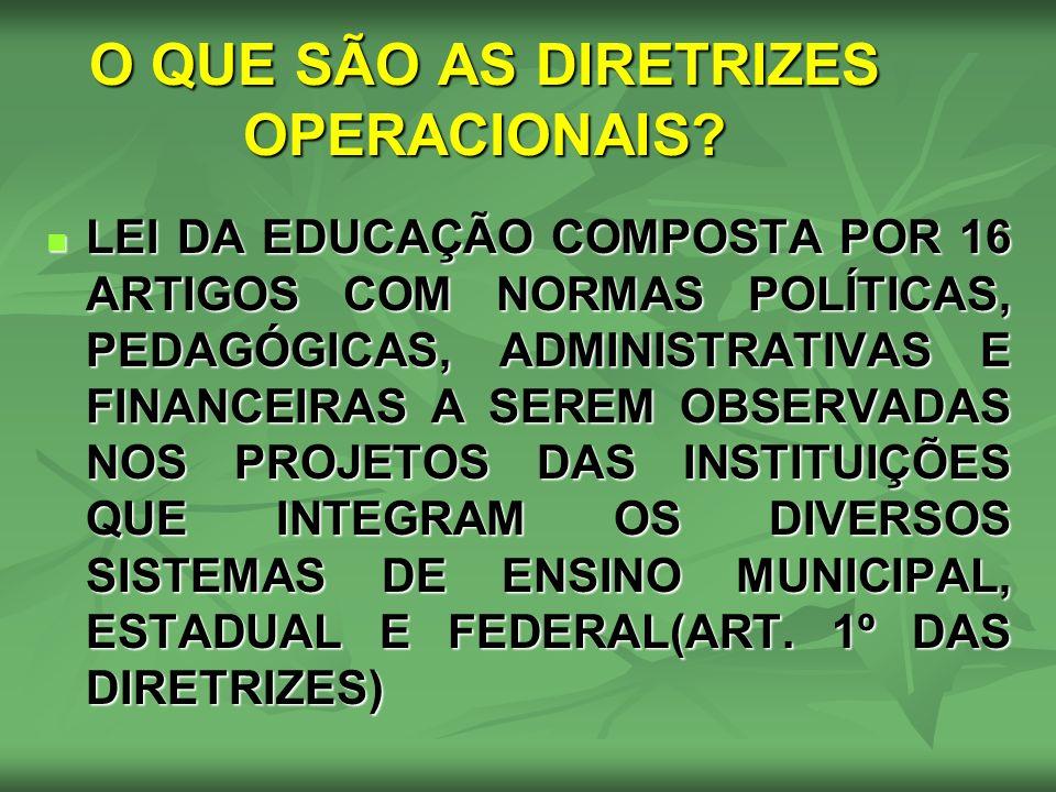 O QUE SÃO AS DIRETRIZES OPERACIONAIS? LEI DA EDUCAÇÃO COMPOSTA POR 16 ARTIGOS COM NORMAS POLÍTICAS, PEDAGÓGICAS, ADMINISTRATIVAS E FINANCEIRAS A SEREM