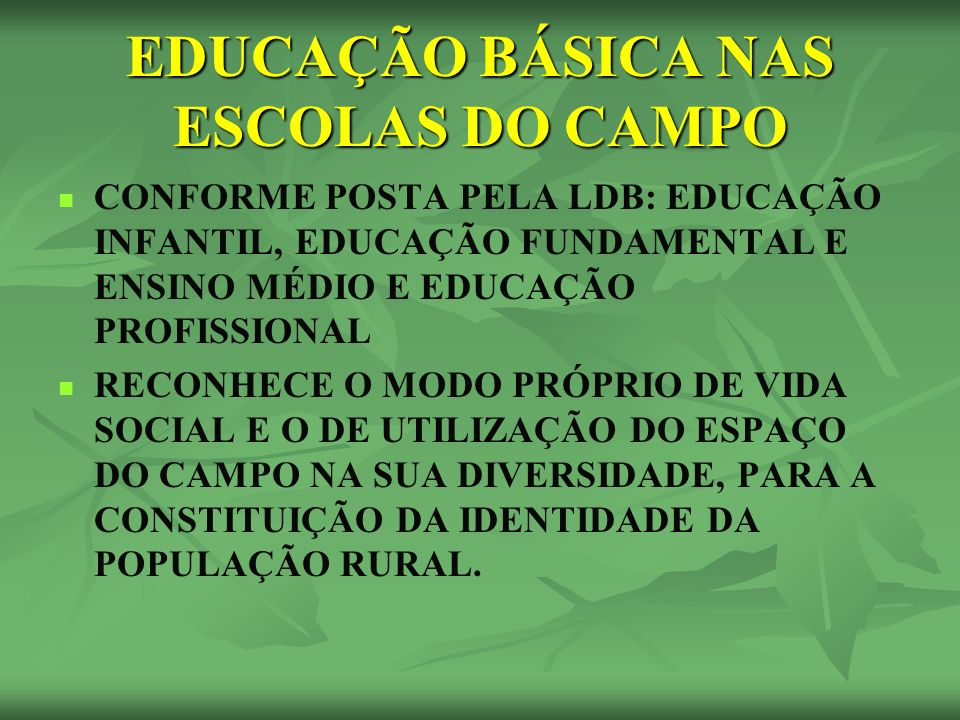 EDUCAÇÃO BÁSICA NAS ESCOLAS DO CAMPO CONFORME POSTA PELA LDB: EDUCAÇÃO INFANTIL, EDUCAÇÃO FUNDAMENTAL E ENSINO MÉDIO E EDUCAÇÃO PROFISSIONAL RECONHECE