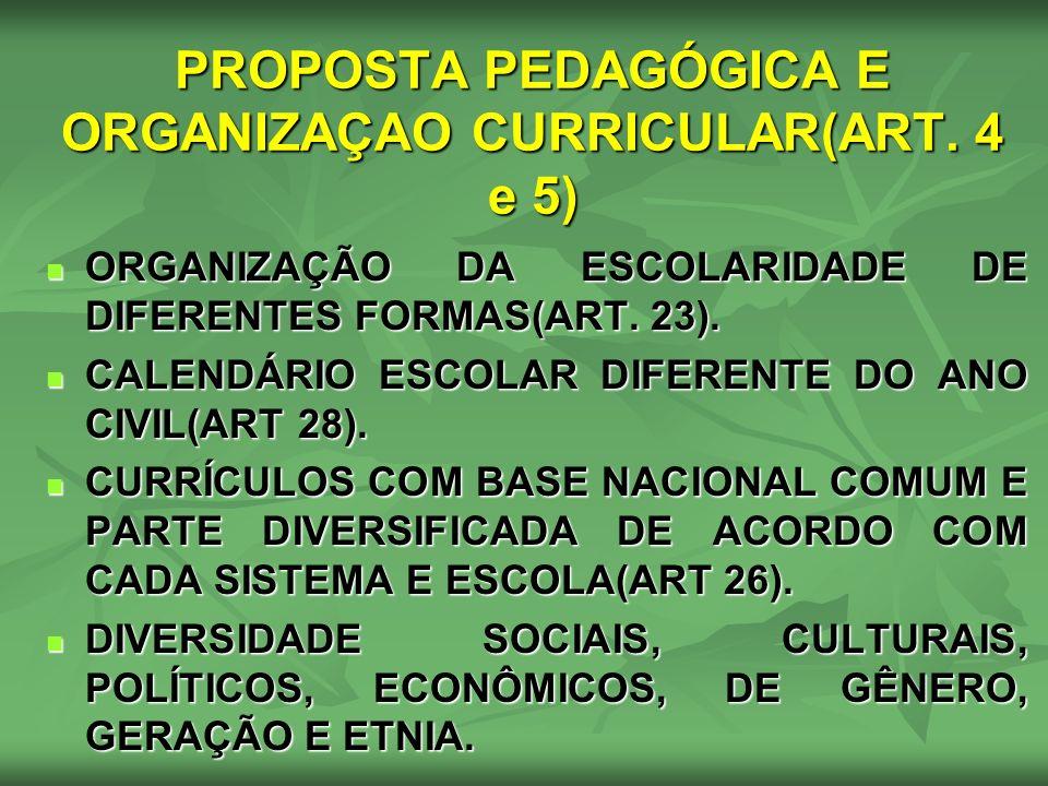 PROPOSTA PEDAGÓGICA E ORGANIZAÇAO CURRICULAR(ART. 4 e 5) ORGANIZAÇÃO DA ESCOLARIDADE DE DIFERENTES FORMAS(ART. 23). ORGANIZAÇÃO DA ESCOLARIDADE DE DIF