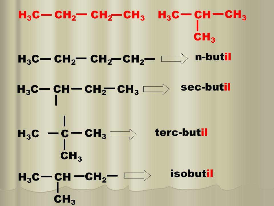 NOMENCLATURA DOS RADICAIS PREFIXO il,ila ou ilo CH 4 metano H3CH3C metil C2H6C2H6 etano H 3 C CH 2 etil C3H8C3H8 propano H 3 C CH 2 CH 2 propil H 3 C