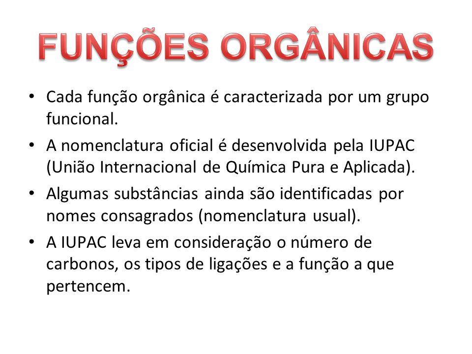 Cada função orgânica é caracterizada por um grupo funcional.