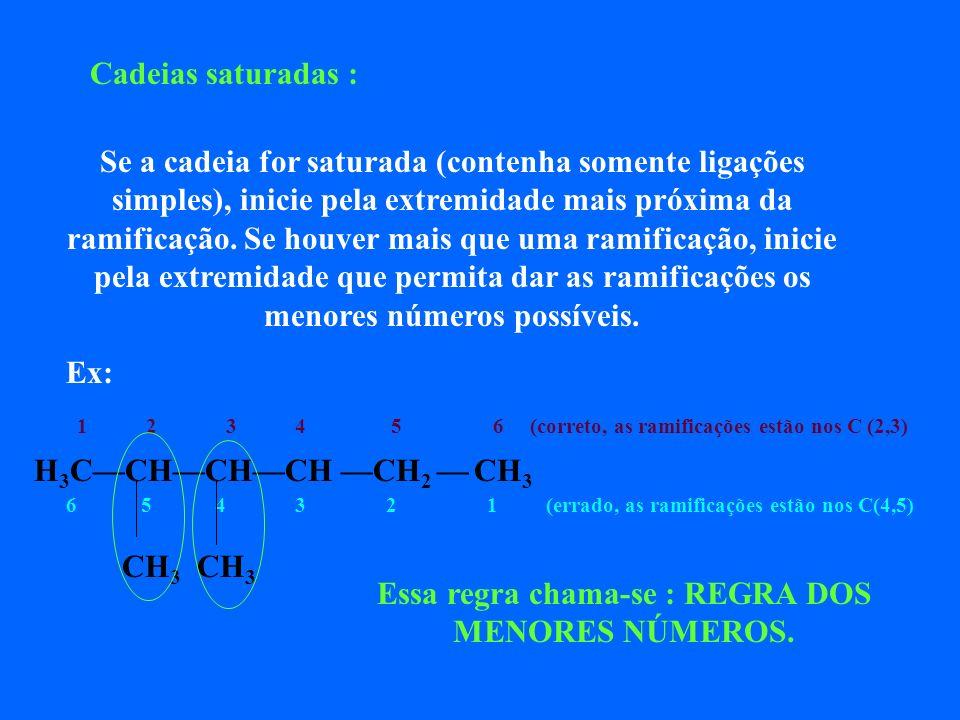 O nome correto e completo do alcano ramificado deverá apresentar, nesta ordem: As posições numéricas ocupadas pelos radicais Os nomes dos radicais O n