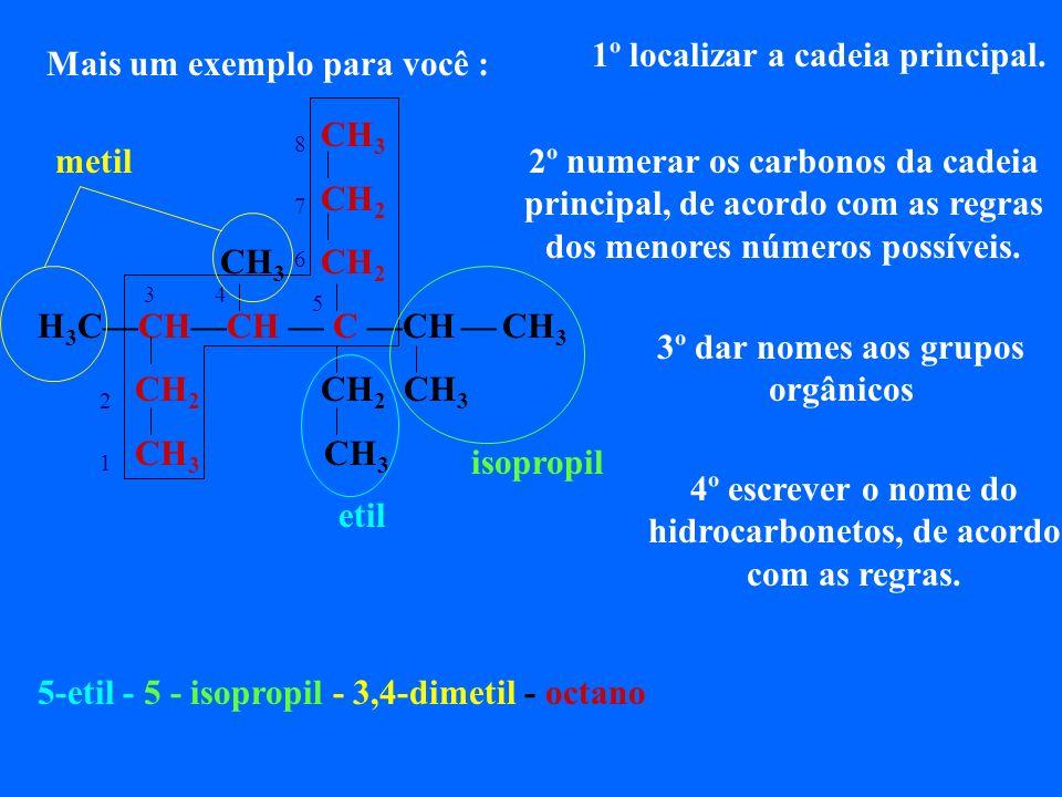 No ISOOCTANO, molécula da gasolina, cuja índice de octanagem tem valor 100, e é considerado uma gasolina de ótima qualidade. Agora podemos dar o nome
