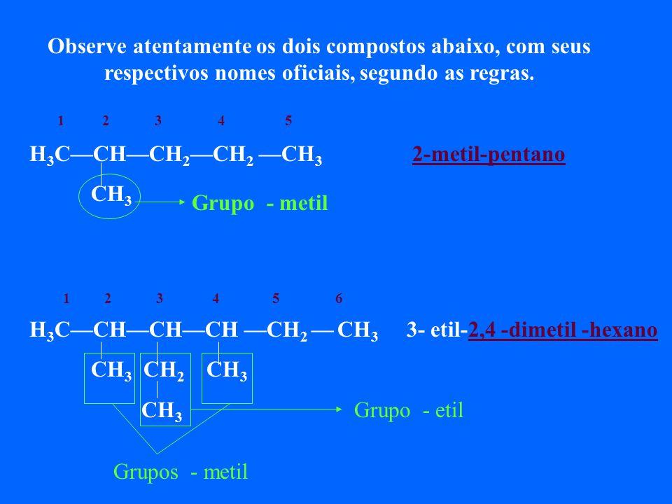 Mais um exemplo para você : CH 3 CH 2 CH 3 CH 2 H 3 CCHCH C CH CH 3 CH 2 CH 2 CH 3 CH 3 CH 3 1º localizar a cadeia principal. 2º numerar os carbonos d
