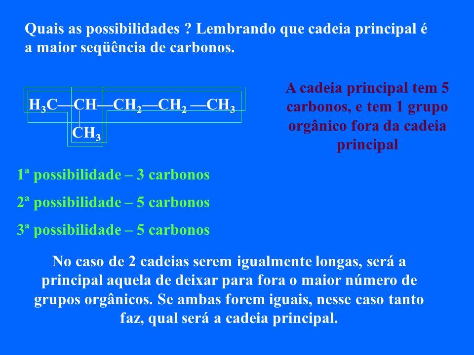 Observe atentamente os dois compostos abaixo, com seus respectivos nomes oficiais, segundo as regras. 1 2 3 4 5 H 3 CCHCH 2 CH 2 CH 3 2-metil-pentano