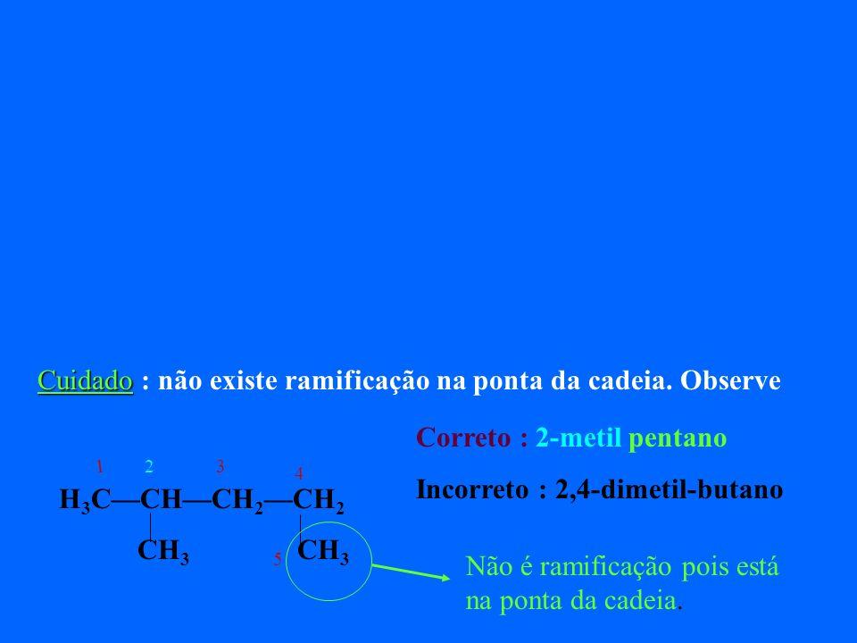 3 – Quando eu vou montar um composto a partir do nome, por onde começo a numerar os carbonos ? Se você está montando o composto, você escolhe de que l