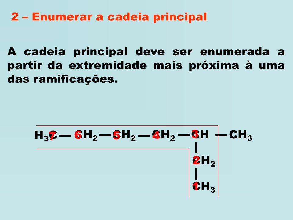 H3CH3C CH 2 CH 3 CH 2 CH CH 2 CH 3 No caso da cadeia apresentar mais de uma cadeia com o maior número de átomos de carbono, a cadeia principal é a que