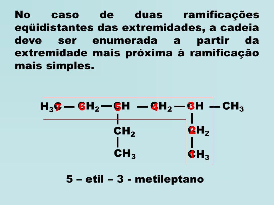 H3CH3C CH 2 CH 3 CH 2 CH CH 2 CH 3 1 2 3 4 5 6 3 – etil – 2 - metilexano H3CH3C CHCH 3 CH 2 CH CH 2 CH 3 1 2 3 4 56 3 – etil – 2,5 - dimetilexano