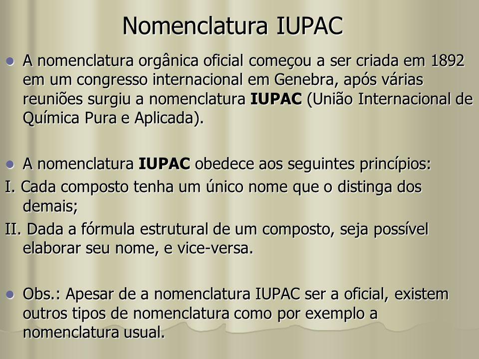 Nomenclatura IUPAC A nomenclatura orgânica oficial começou a ser criada em 1892 em um congresso internacional em Genebra, após várias reuniões surgiu a nomenclatura IUPAC (União Internacional de Química Pura e Aplicada).
