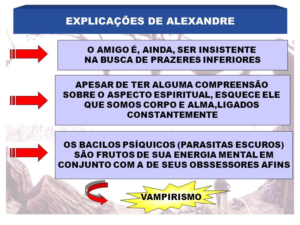 EXPLICAÇÕES DE ALEXANDRE O AMIGO É, AINDA, SER INSISTENTE NA BUSCA DE PRAZERES INFERIORES APESAR DE TER ALGUMA COMPREENSÃO SOBRE O ASPECTO ESPIRITUAL,