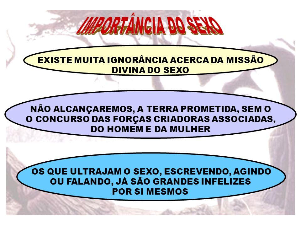EXISTE MUITA IGNORÂNCIA ACERCA DA MISSÃO DIVINA DO SEXO NÃO ALCANÇAREMOS, A TERRA PROMETIDA, SEM O O CONCURSO DAS FORÇAS CRIADORAS ASSOCIADAS, DO HOME