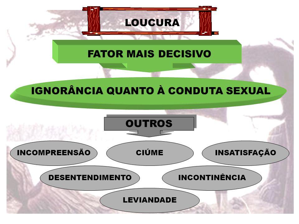 LOUCURA FATOR MAIS DECISIVO IGNORÂNCIA QUANTO À CONDUTA SEXUAL OUTROS INCOMPREENSÃOCIÚME DESENTENDIMENTO INSATISFAÇÃO INCONTINÊNCIA LEVIANDADE