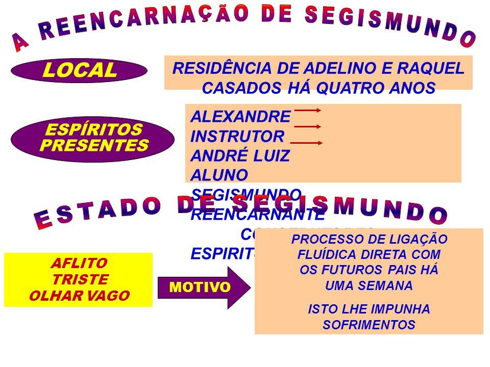 LOCAL RESIDÊNCIA DE ADELINO E RAQUEL CASADOS HÁ QUATRO ANOS ESPÍRITOS PRESENTES ALEXANDRE INSTRUTOR ANDRÉ LUIZ ALUNO SEGISMUNDO REENCARNANTE CONSTRUTO