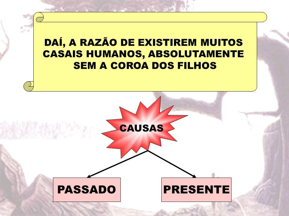 DAÍ, A RAZÃO DE EXISTIREM MUITOS CASAIS HUMANOS, ABSOLUTAMENTE SEM A COROA DOS FILHOS CAUSAS PASSADOPRESENTE