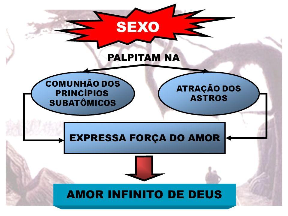 SEXO COMUNHÃO DOS PRINCÍPIOS SUBATÔMICOS ATRAÇÃO DOS ASTROS EXPRESSA FORÇA DO AMOR AMOR INFINITO DE DEUS PALPITAM NA