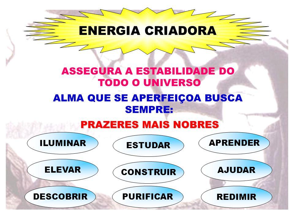ASSEGURA A ESTABILIDADE DO TODO O UNIVERSO ALMA QUE SE APERFEIÇOA BUSCA SEMPRE: PRAZERES MAIS NOBRES ELEVAR DESCOBRIR ESTUDAR PURIFICAR CONSTRUIR REDI