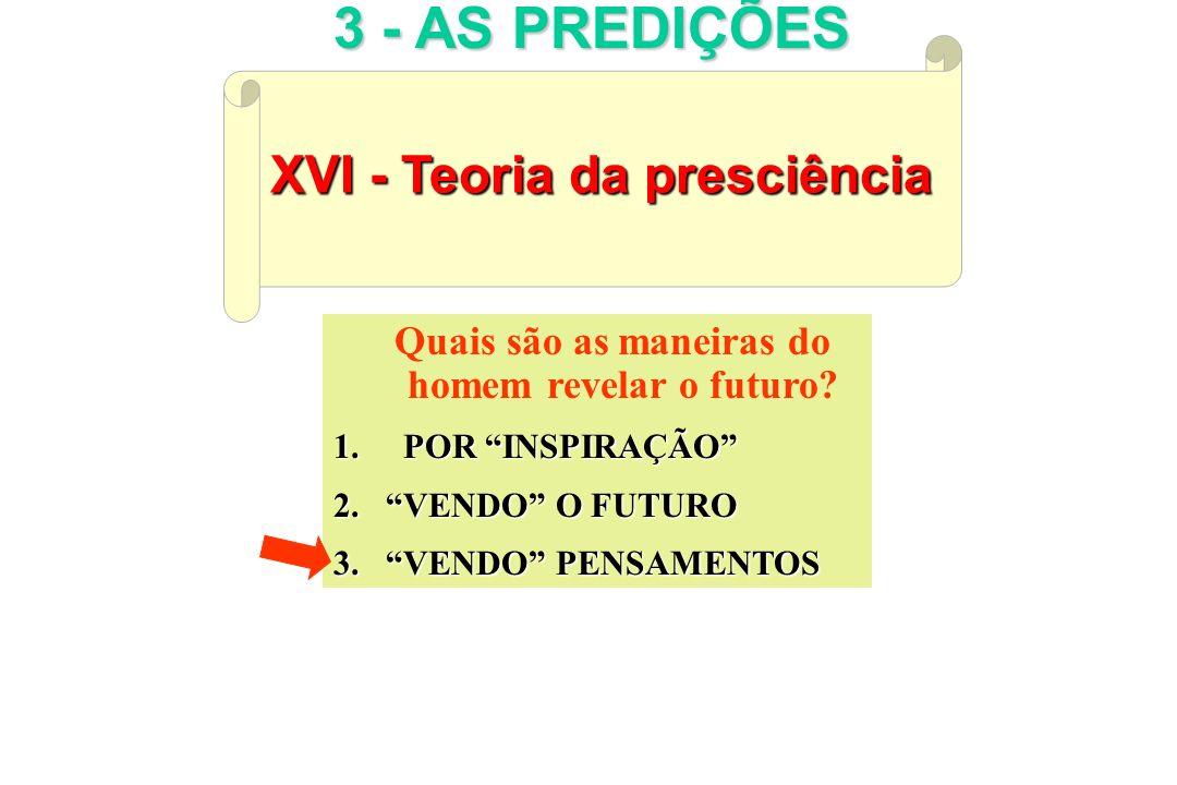 XVI - Teoria da presciência 3 - AS PREDIÇÕES Quais são as maneiras do homem revelar o futuro? 1. 1. POR INSPIRAÇÃO 2.VENDO 2.VENDO O FUTURO 3.VENDO 3.