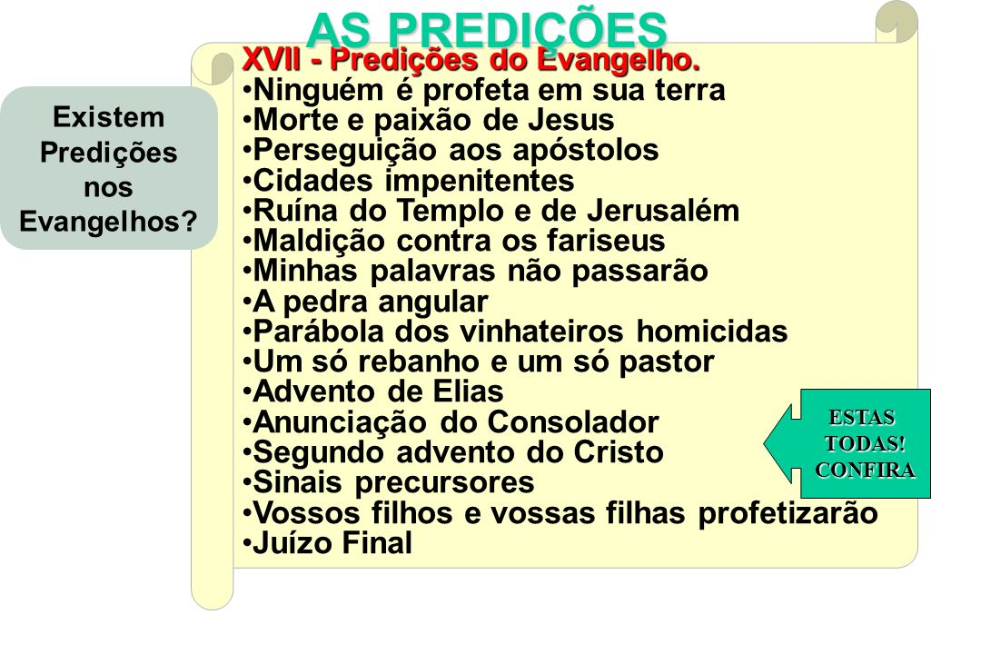 CONSEQUÊNCIAS e APLICAÇÕES do E EE Espiritismo XVII - Predições do Evangelho. Ninguém é profeta em sua terra Morte e paixão de Jesus Perseguição aos a