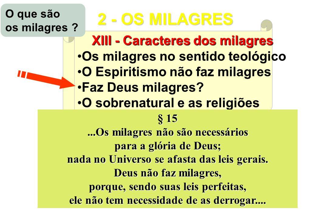 CONSEQUÊNCIAS e APLICAÇÕES do E EE Espiritismo XIII - Caracteres dos milagres Os milagres no sentido teológico O Espiritismo não faz milagres Faz Deus