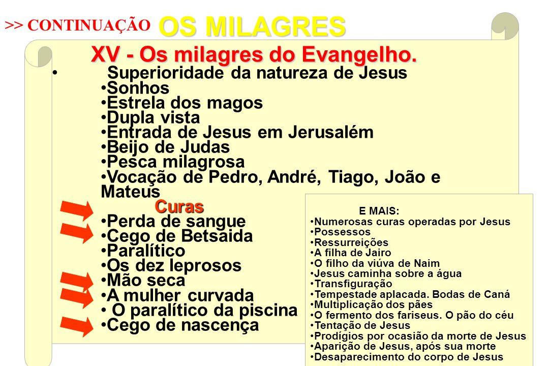 Superioridade da natureza de Jesus Sonhos Estrela dos magos Dupla vista Entrada de Jesus em Jerusalém Beijo de Judas Pesca milagrosa Vocação de Pedro,