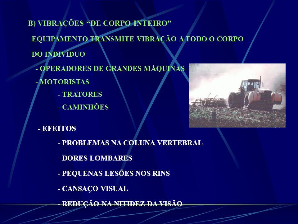 B) VIBRAÇÕES DE CORPO INTEIRO EQUIPAMENTO TRANSMITE VIBRAÇÃO A TODO O CORPO DO INDIVÍDUO - OPERADORES DE GRANDES MÁQUINAS - MOTORISTAS - TRATORES - CA