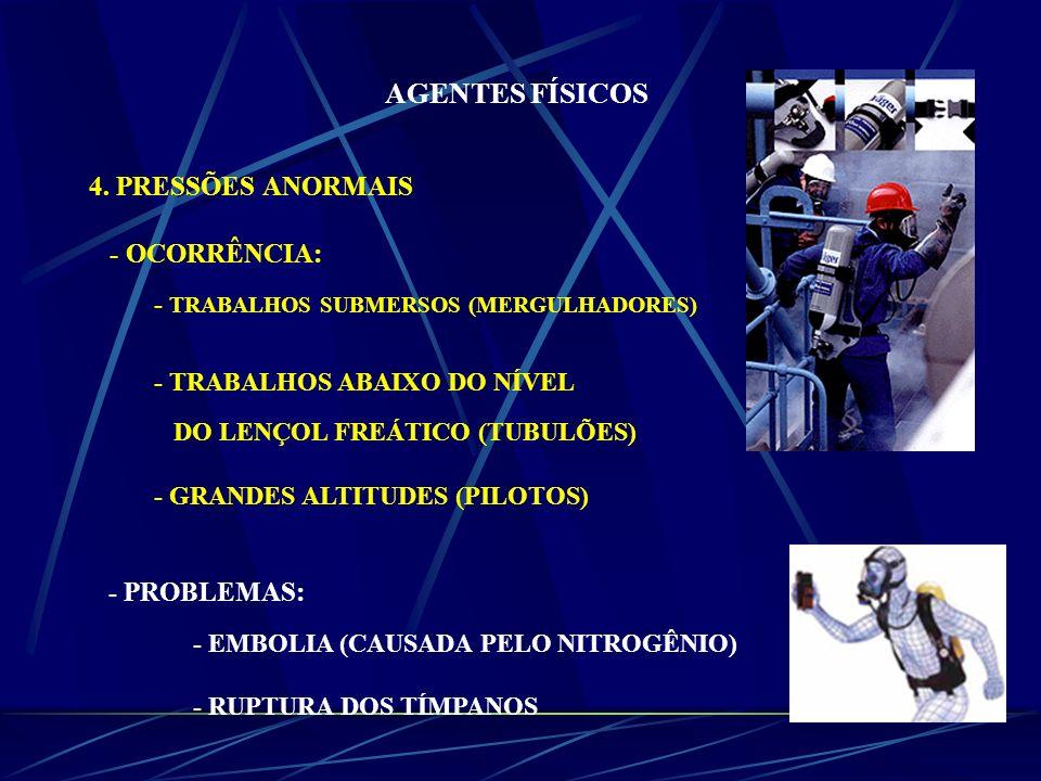 AGENTES FÍSICOS 4. PRESSÕES ANORMAIS - OCORRÊNCIA: - TRABALHOS SUBMERSOS (MERGULHADORES) - TRABALHOS ABAIXO DO NÍVEL DO LENÇOL FREÁTICO (TUBULÕES) - G