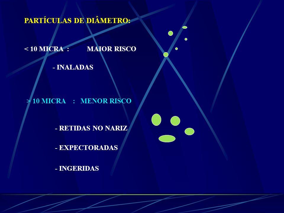 PARTÍCULAS DE DIÂMETRO: < 10 MICRA : MAIOR RISCO - INALADAS > 10 MICRA : MENOR RISCO - RETIDAS NO NARIZ - EXPECTORADAS - INGERIDAS