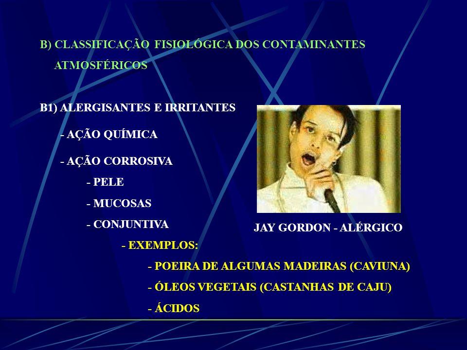 B) CLASSIFICAÇÃO FISIOLÓGICA DOS CONTAMINANTES ATMOSFÉRICOS B1) ALERGISANTES E IRRITANTES - AÇÃO QUÍMICA - AÇÃO CORROSIVA - PELE - MUCOSAS - CONJUNTIV