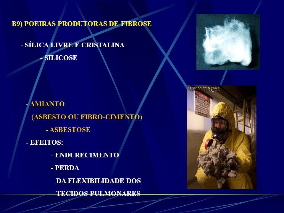 - AMIANTO (ASBESTO OU FIBRO-CIMENTO) - ASBESTOSE - EFEITOS: - ENDURECIMENTO - PERDA DA FLEXIBILIDADE DOS TECIDOS PULMONARES B9) POEIRAS PRODUTORAS DE