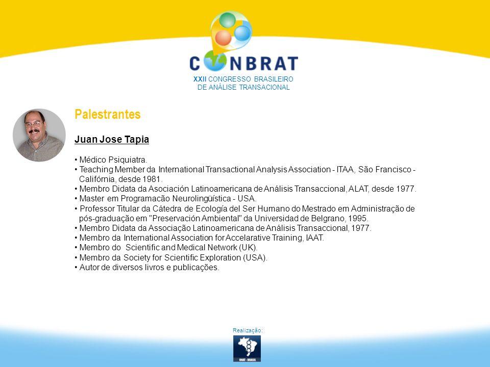 XXII CONGRESSO BRASILEIRO DE ANÁLISE TRANSACIONAL Palestrantes Juan Jose Tapia Médico Psiquiatra. Teaching Member da International Transactional Analy