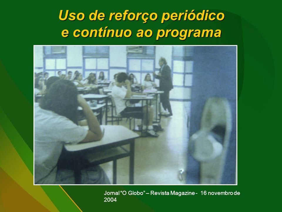 Uso de reforço periódico e contínuo ao programa Jornal O Globo – Revista Magazine - 16 novembro de 2004