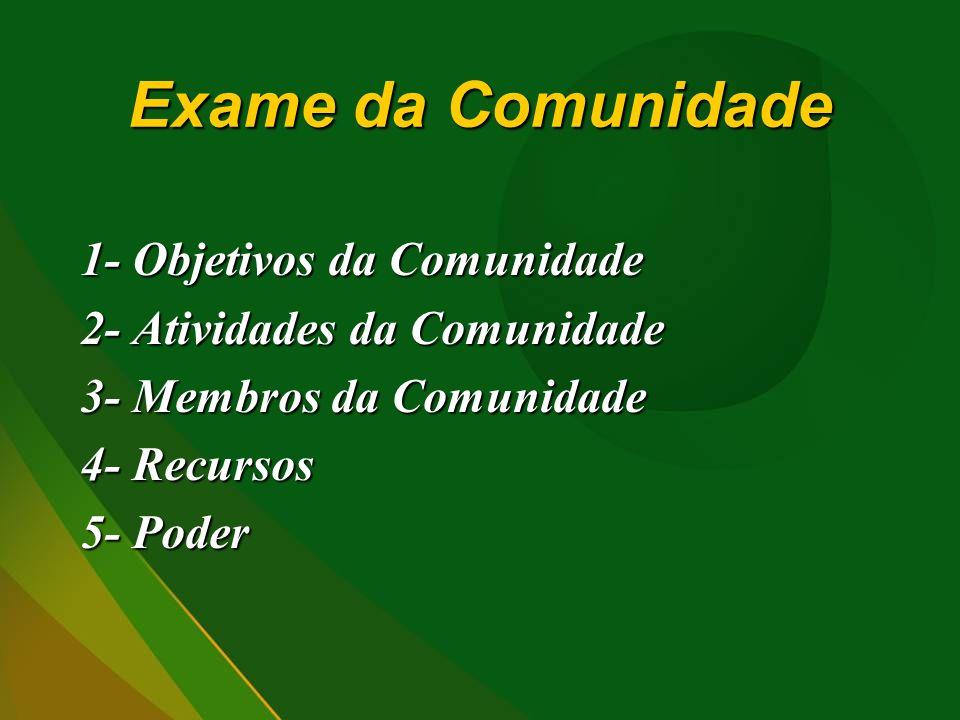 Exame da Comunidade 1- Objetivos da Comunidade 2- Atividades da Comunidade 3- Membros da Comunidade 4- Recursos 5- Poder