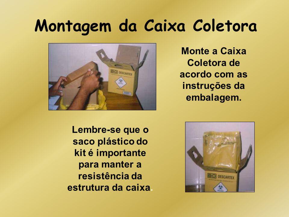 Montagem da Caixa Coletora Monte a Caixa Coletora de acordo com as instruções da embalagem. Lembre-se que o saco plástico do kit é importante para man