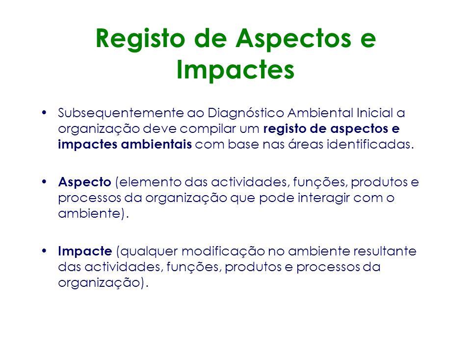 Aspectos e Impactes A empresa deve ser capaz de indentificar e prioritizar continuamente os impactes ambientais, de modo a possibilitar o estabelecime