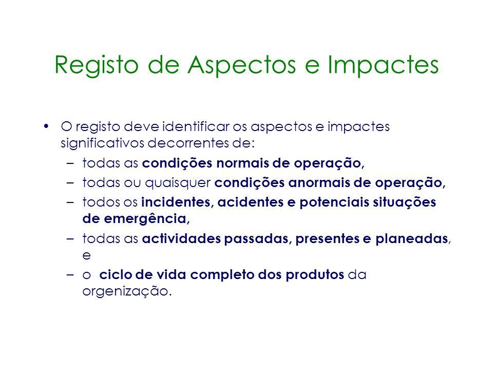 Registo de Aspectos e Impactes Subsequentemente ao Diagnóstico Ambiental Inicial a organização deve compilar um registo de aspectos e impactes ambient