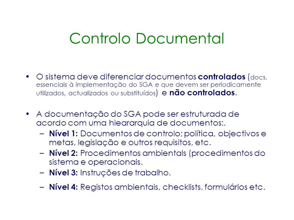 Controlo Documental A organização deve garantir que: –Os documentos podem ser prontamente localizáveis. –A documentação é actualizada. –Versões desact