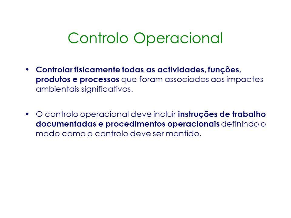 Controlo Documental O sistema deve diferenciar documentos controlados ( docs. essenciais à implementação do SGA e que devem ser periodicamente utiliza